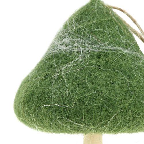 Wieszak dekoracyjny drewno grzybowe / filc zielony Ø5cm-Ø10cm W9cm 8szt