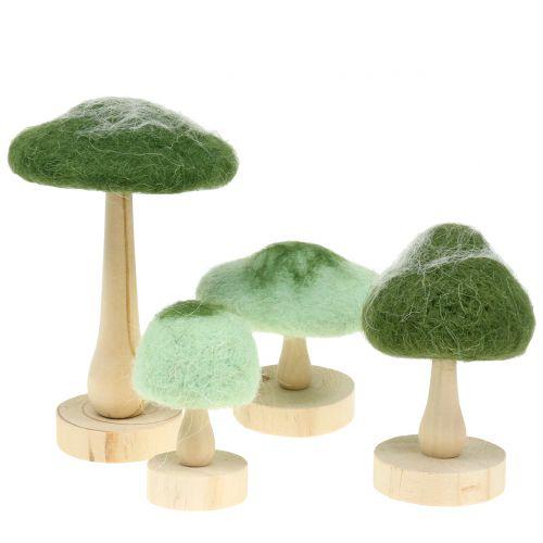 Dekoracyjne drewno grzybowe / filc zielony 8cm - 15cm 4szt