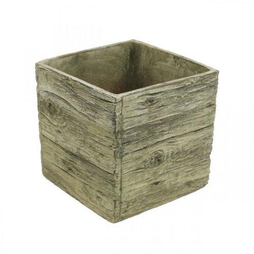 Doniczka kwadrat 18x18cm betonowa skrzynka drewnopodobna
