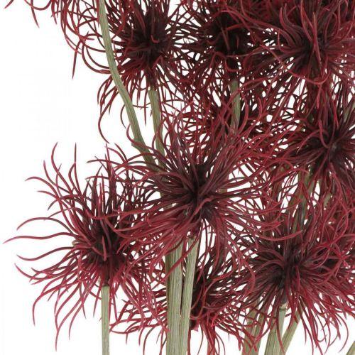 Xanthium Sztuczny Kwiat Jesień Dekoracja Czerwony 6 Kwiatów 80cm 3szt.