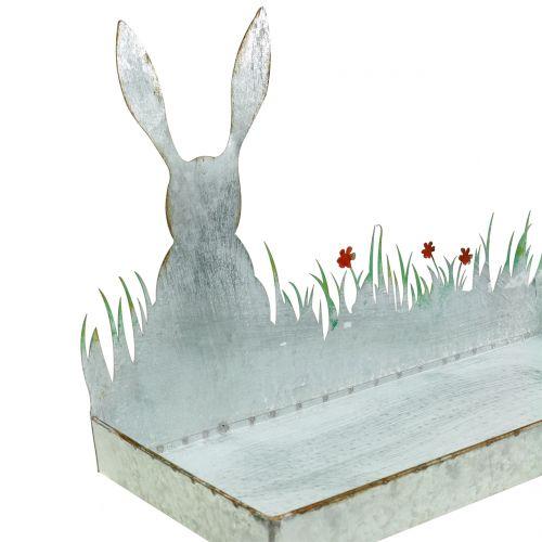 Miska cynkowa wiosenna łąka z wielkanocnym zajączkiem 35cm x 16cm H24cm