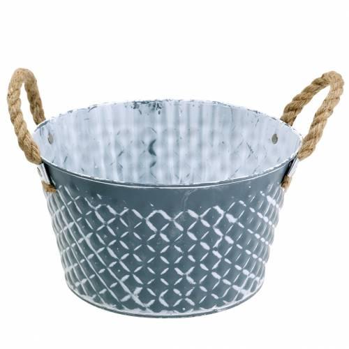 Cynkowa miska Rhombus z uchwytami z liny niebiesko-szara Ø25cm H14cm