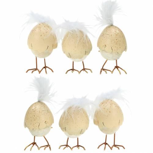 Laska w skorupce jajka biała, kremowa 6cm 6szt