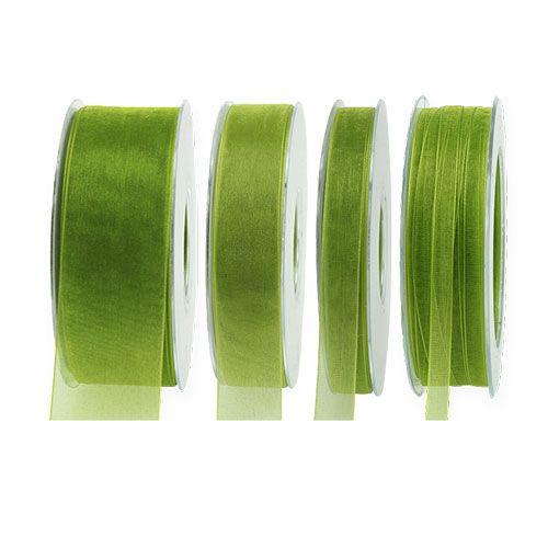 Organza wstążka mech zielony 50m