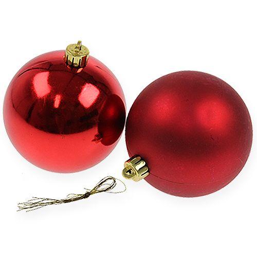Kula świąteczna czerwona 10cm 4szt