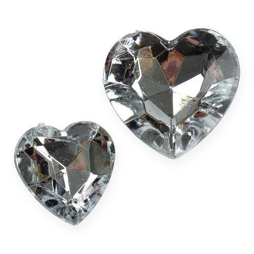 Dekoracje rozproszone akrylowe serduszka srebrne 2cm - 3cm 120szt