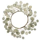 Wianek z liści sztuczne okrągłe liście szampana Ø55cm