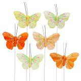 Piórkowe motyle 6cm żółte, pomarańczowe 24szt