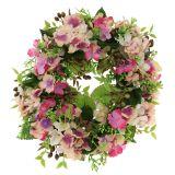 Wieniec kwiatów z hortensjami i różowymi jagodami Ø30cm