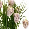 Sztuczny kwiat szachownicy w doniczce, wiosenny kwiat fritillaria, jedwabny kwiat czerwony i biały